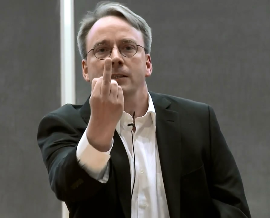 Linus Torvalds giving the middle finger